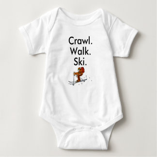Crawl Walk Ski Skiier Skiing Baby Bodysuit