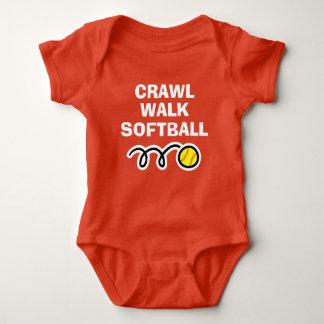 CRAWL WALK SOFTBALL sports bodysuit for new baby