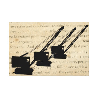 Crawler Crane Silhouette Vintage Antique Operator Canvas Print