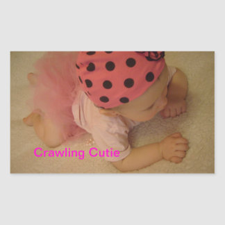 crawling cutie rectangle stickers