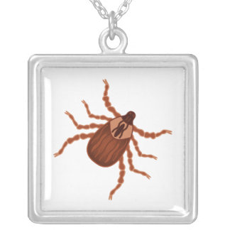 Crawly Realistic Tick Illustration Silver Plated Necklace