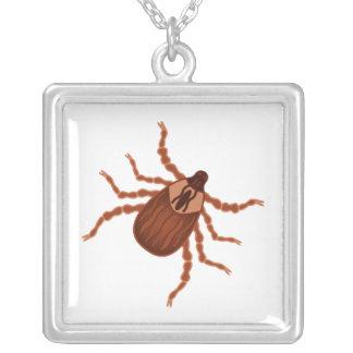 Crawly Realistic Tick Illustration Square Pendant Necklace