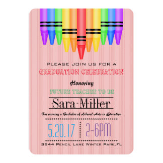 Crayola Rainbow Teacher Graduation Invitation