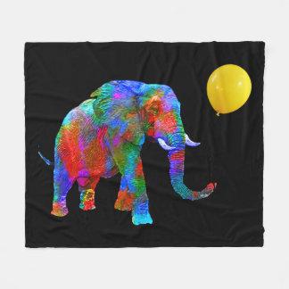 Crayon Colored Elephant with Yellow Balloon Fleece Blanket