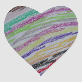 Crayon Drawn Lines Heart Sticker