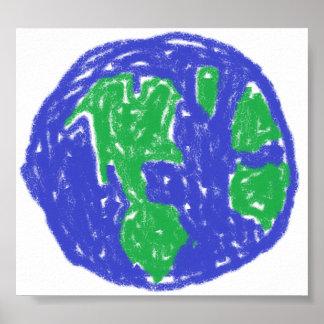 Crayon Globe Poster