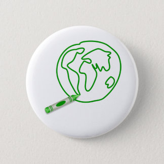 Crayon Green Globe 6 Cm Round Badge