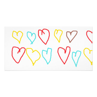 Crayon Hearts Personalized Photo Card