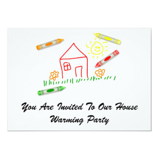 Crayon House, You Are Invited To Our House Warm... Custom Announcements
