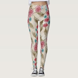 Crayon Roses Leggings