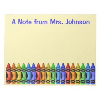 Crayon Teacher Personalized Notepad (Yellow)