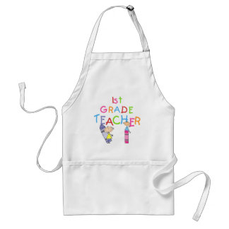 Crayons 1st Grade Teacher Tshirts and Gifts Adult Apron