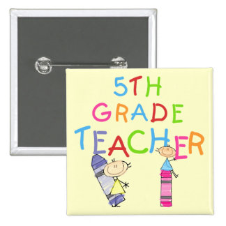 Crayons 5th Grade Teacher Tshirts and Gifts Buttons