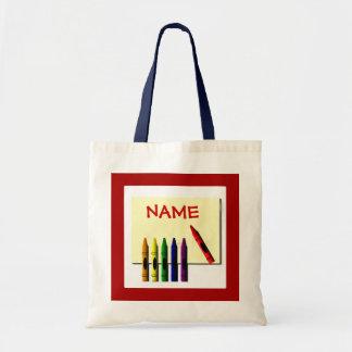 Crayons Color my Name Cute Tote Bag