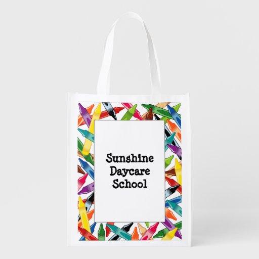 Crayons Frame Grocery Bag