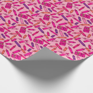 Crayons in Shades of Pink Wrapping Paper