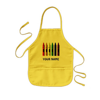 Crayons Name Kids Cute Yellow Crayon  Apron