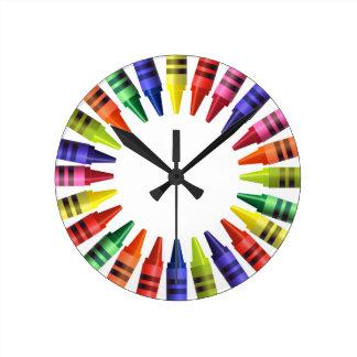 Crayons Round Clock