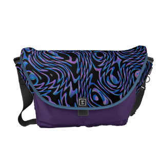 Crazed Abstract in Blue, Black, and Purple Messenger Bag