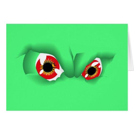 Crazy 3D Green Eyes Customizable design Cards