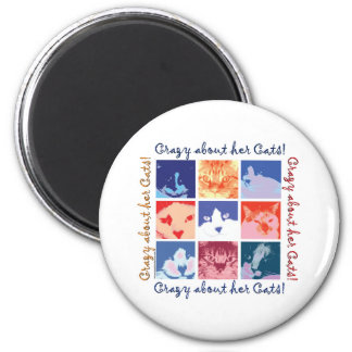 Crazy About Her Cats 6 Cm Round Magnet