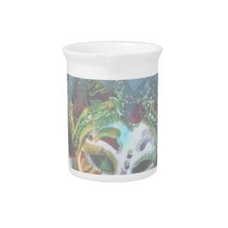 Crazy Abstract Face Of Festival Celebrations Mask Drink Pitcher