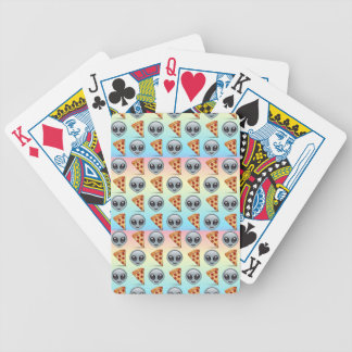 Crazy Aliens & Pizza Emoji Pattern Bicycle Playing Cards