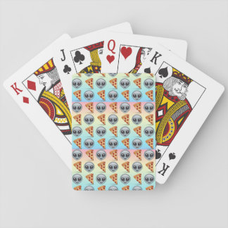 Crazy Aliens & Pizza Emoji Pattern Playing Cards