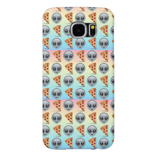 Crazy Aliens & Pizza Emoji Pattern Samsung Galaxy S6 Cases