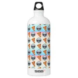 Crazy Aliens & Pizza Emoji Pattern Water Bottle