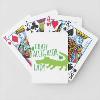 crazy alligator lady bicycle playing cards