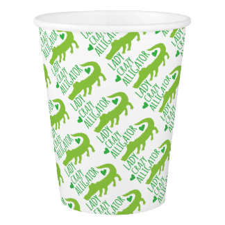 crazy alligator lady paper cup