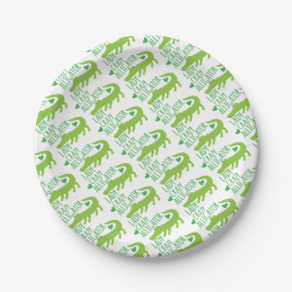 crazy alligator lady paper plate