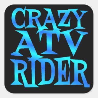 Crazy ATV Rider Square Sticker