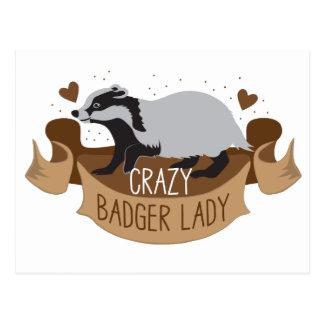 crazy badger lady banner postcard