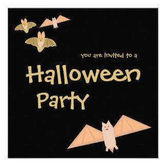 Crazy Bats Halloween Party Invitation