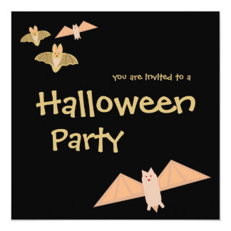 "Crazy Bats Halloween Party Invitation 5.25"" Square Invitation Card"