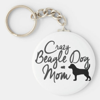 Crazy Beagle Dog Mom Basic Round Button Key Ring