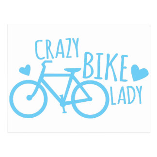 Crazy Bike Lady Postcard