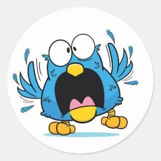 crazy bird classic round sticker