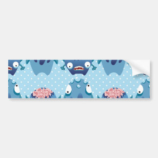 Crazy Blue Monsters Fun Creatures Gifts for Kids Bumper Sticker