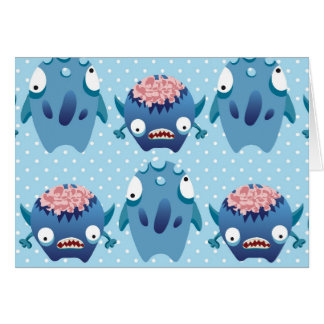 Crazy Blue Monsters Fun Creatures Gifts for Kids Card