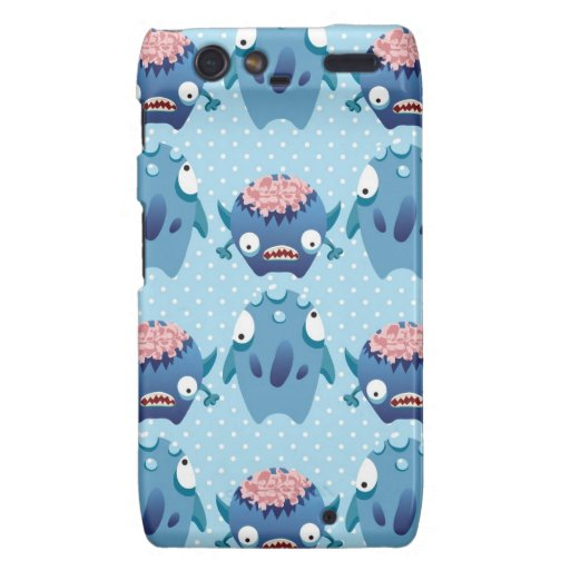 Crazy Blue Monsters Fun Creatures Gifts for Kids Motorola Droid RAZR Cover