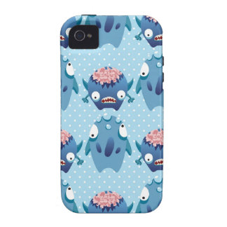 Crazy Blue Monsters Fun Creatures Gifts for Kids iPhone 4/4S Cases