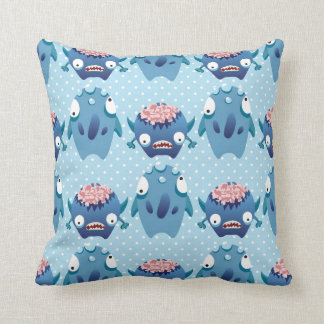 Crazy Blue Monsters Fun Creatures Gifts for Kids Pillows
