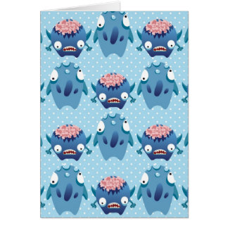 Crazy Blue Monsters Fun Creatures Gifts for Kids Greeting Card