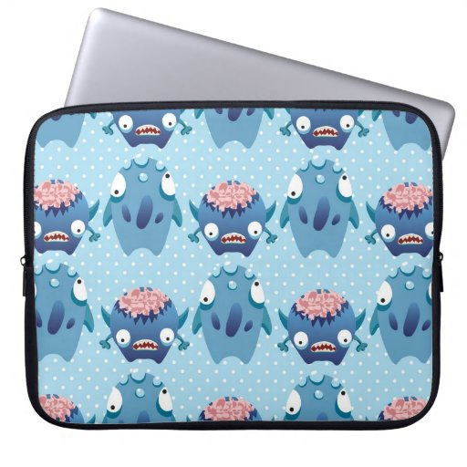 Crazy Blue Monsters Fun Creatures Gifts for Kids Computer Sleeves