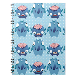 Crazy Blue Monsters Fun Creatures Gifts for Kids Spiral Note Book