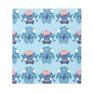 Crazy Blue Monsters Fun Creatures Gifts for Kids Memo Note Pad