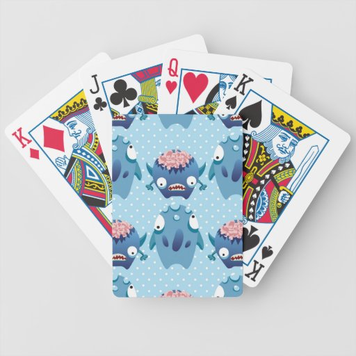 Crazy Blue Monsters Fun Creatures Gifts for Kids Poker Cards
